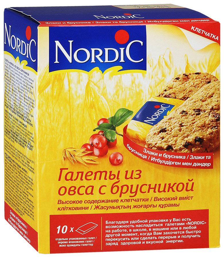 Nordic галета из овса с брусникой, 300 г0120710Вкусный полезный перекус, традиционный овсяный продукт (печенье из овса) по особой здоровой, полезной, финской рецептуре. Не очень сладкий продукт, не содержит молока и яиц. Удобная упаковка и все преимущества цельного зерна и овсяной каши в одной галете.