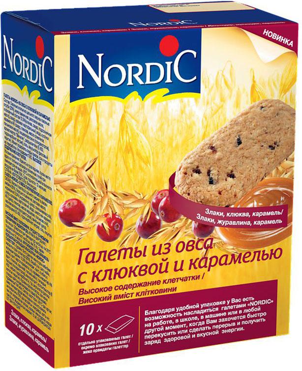 Nordic галета из овса с клюквой и карамелью, 300 г0120710Вкусный полезный перекус, традиционный овсяный продукт (печенье из овса) по особой здоровой, полезной, финской рецептуре Не очень сладкий продукт, не содержит молока и яиц. Удобная упаковка и все преимущества цельного зерна и овсяной каши в одной галете.