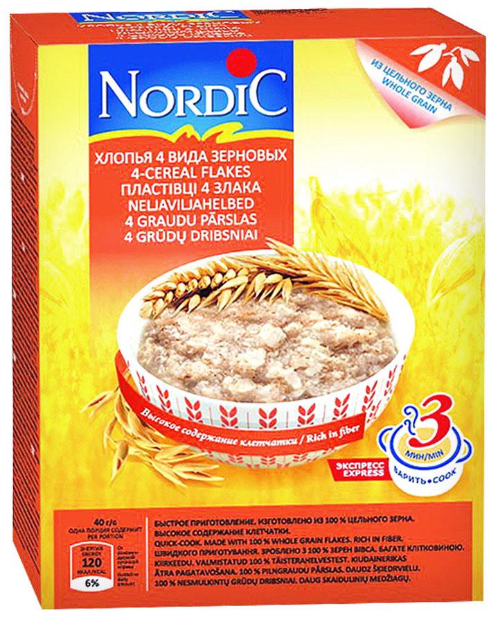 Nordic хлопья 4 вида зерновых, 600 г0120710Родина каши Nordic– Финляндия, традиционно и заслуженно считающаяся одной из самых экологически благополучных стран мира. Здесь особенно бережно относятся ко всему,что связано с природой–главным национальным достоянием. Для каши Nordic финские специалисты подобрали максимально полезное сочетание злаков: овес, пшеница, ячмень и рожь. Каша Nordic 4 злака рекомендована всем, кто заботится о своем здоровье и здоровье своих близких!