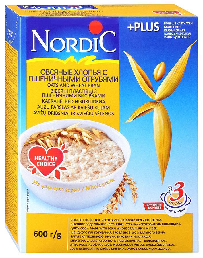 Nordic хлопья овсяные с пшеничными отрубями, 600 г0120710Овсяные хлопья и пшеничные отруби–это наилучший способ помочь своему организму избавиться от шлаков, укрепить иммунитет и нормализовать пищеварение. Они-прекрасный абсорбент, снижающий уровень холестерина в крови и улучшающий самочувствие. Основная составляющая отрубей–пищевые волокна–способствует распаду жиров и снижают угрозу образования канцерогенов.Идеальное сочетание вкуса и пользы овсяных хлопьев и пшеничных отрубей обеспечивает снабжение организма клетчаткой, а также минеральными веществами и целым комплексом необходимых человеку витаминов группыВ,. Это делает отруби полезным продуктом, незаменимым для нормализации пищеварения. Сочетание пшеничных отрубей и овсяных хлопьев обеспечивают очищение организма от шлаков, повышение иммунитета и нормализацию функций пищеварения. Кроме того, они дают заряд бодрости и сил в течение всего дня.