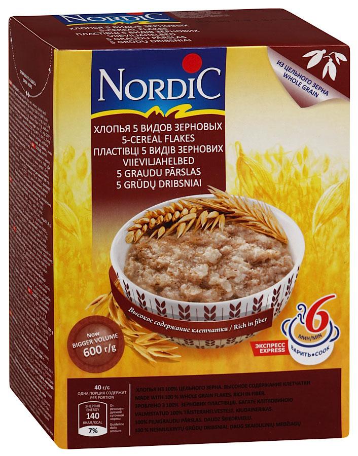 Nordic хлопья 5 видов зерновых, 600 гбир501В новом продукте Nordic 5видов зерновых финские подобрано максимально полезное ивкусное сочетание злаков: овес, пшеница, ячмень, рожь игречка. Nordic 5видов зерновых, хорошо подходит как для завтрака, так ивкачестве гарнира наобед или ужин.