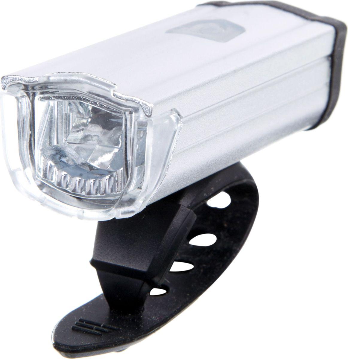 Фонарь велосипедный STG JY7040, передний, с зарядкой от USB, цвет: серебристыйХ81484Передний велофонарь STG JY7040 предназначен для обеспечения большей безопасности при поездках в темное время суток. Он легко крепится и снимается без дополнительных инструментов. Корпус изделия выполнен из прочного алюминия, пластика и резины. Фонарь имеет 3 режима: 100% свечение (1,5 часа), 50% свечение (2,5 часа), мерцание (2,5 часа).Фонарь питается от литиевой батарейки (3,7V/550mAh), заряжающегося от компьютера при помощи USB кабеля.