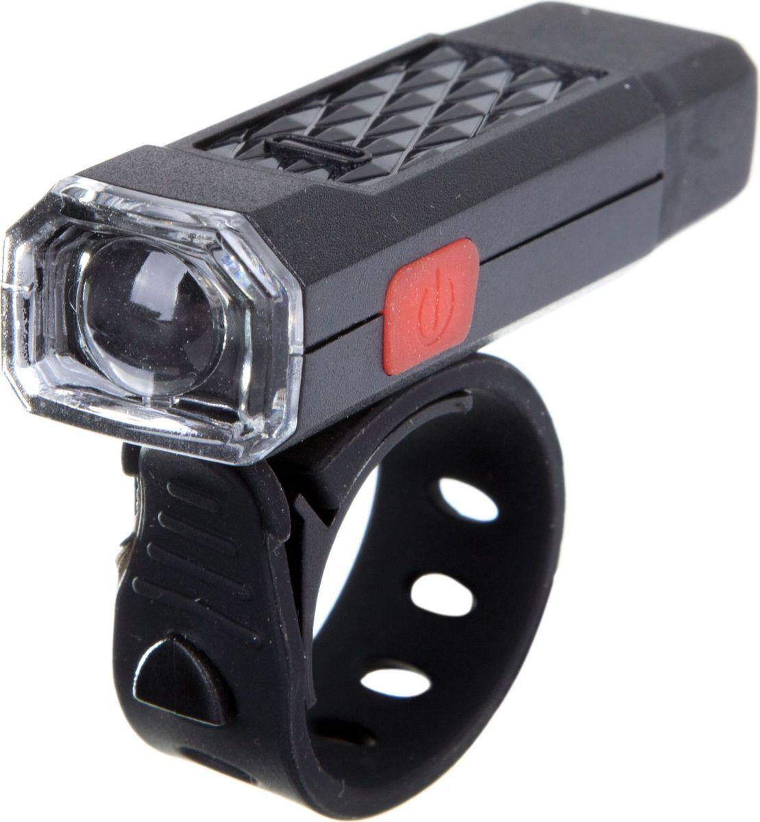 Фонарь велосипедный STG XC-146, передний, с зарядкой от USBХ81490Передний велофонарь STG XC-146 предназначен для обеспечения большей безопасности при поездках в темное время суток. Он легко крепится и снимается без дополнительных инструментов. Корпус изделия выполнен из прочного металла, пластика и резины. Фонарь питается от встроенного аккумулятора, заряжающегося от компьютера при помощи USB кабеля.
