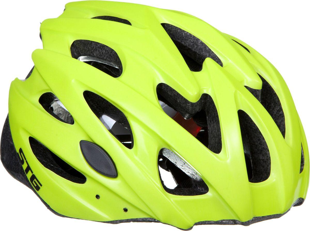Шлем STG MV29-A, цвет: зеленый матовый. Размер M (55-58 см)WRA523700Велошлем STG - необходимый аксессуар каждого велосипедиста, предназначенный для защиты головы во время катания. Специальные отверстия обеспечивают оптимальную вентиляцию головы. Велошлем STG с удобной подкладкой и застежкой, которая комфортно фиксирует шлем на голове велосипедиста - это отличный выбор для ежедневных активных поездок или безопасных прогулок по выходным. Размер - обхват головы M 55-58см
