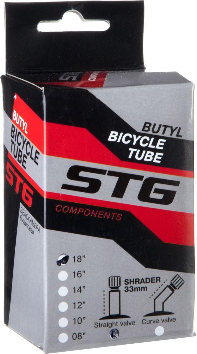Камера велосипедная STG, бутил, 18Х1,75, автониппель 33 ммWRA523700Бутиловая велосипедная камера STG для колеса 18, ширина 1,75, с автониппелем 33 мм.