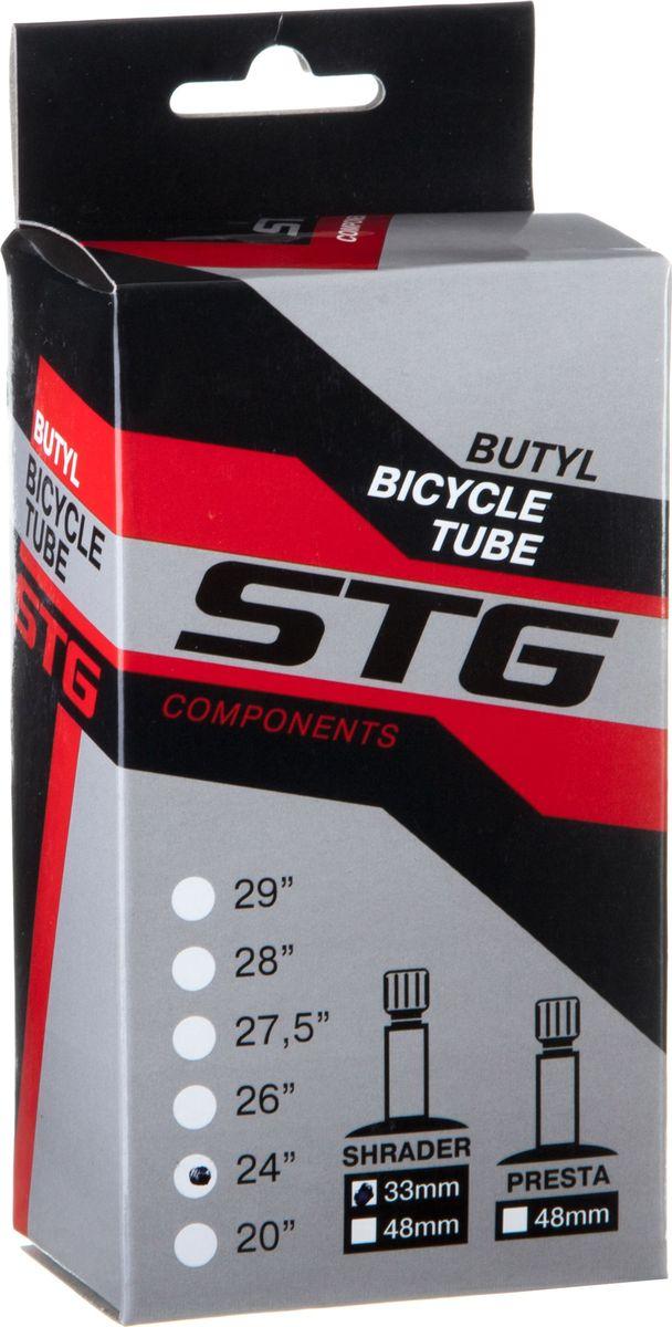 Камера велосипедная STG, бутил, 24Х1,75/1,95, автониппель 33 ммГризлиБутиловая велосипедная камера STG для колеса 24, ширина 1,75-1,95 с автониппелем 33 мм.