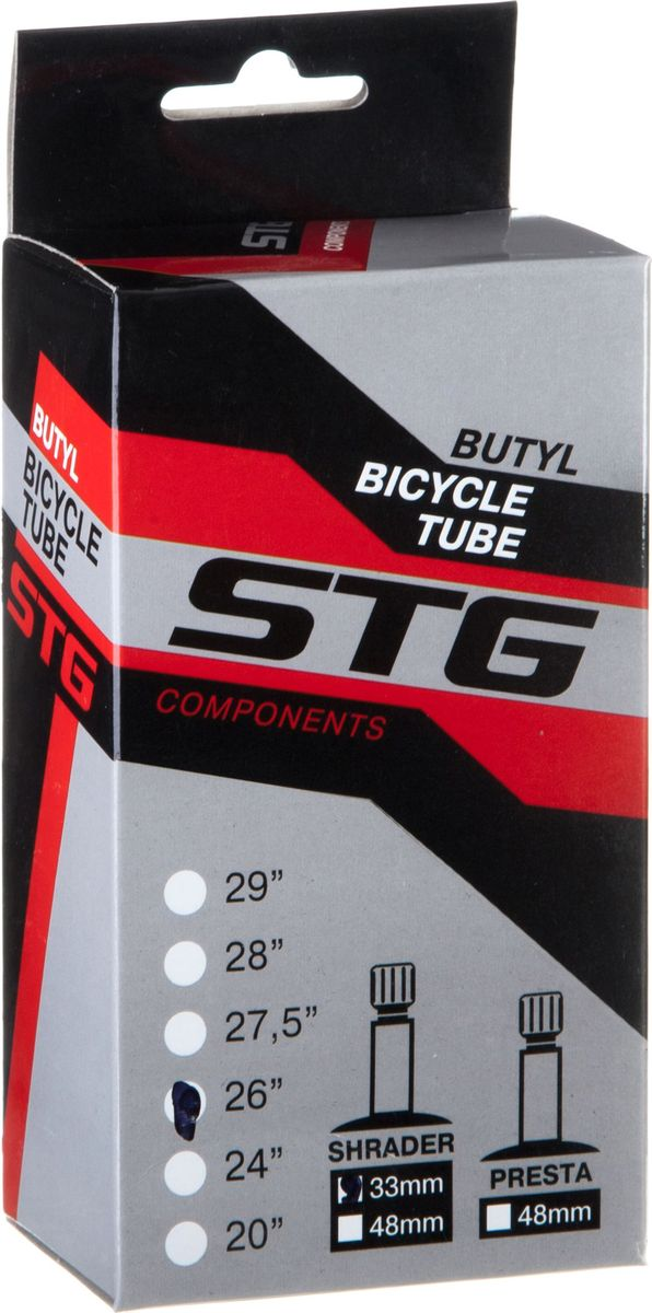 Камера велосипедная STG, бутил, 26Х1,75/1,95, автониппель 33 ммMHDR2G/AБутиловая велосипедная камера STG для колеса 26, ширина 1,75-1,95 с автониппелем 33 мм.