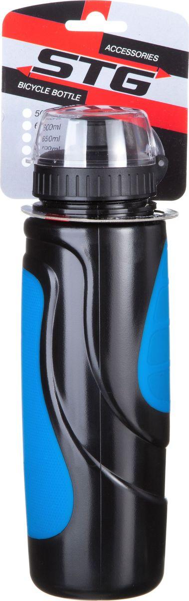 Фляга велосипедная STG DC-BT-55, с крышкой, цвет: черный, синий, 700 млХ83104Велофляга STG - это незаменимая вещь в походах и на велопрогулках на большие расстояния, подойдет для всех велосипедистов, любителей или профессионалов. Фляга выполнена из ударопрочного пластика стойкого к высоким температурам. Эргономичная форма велобутылки позволяет легко достать и быстро поместить ее во флягодержатель. Оптимальный объем фляги (700 мл) обеспечивает необходимое количество жидкости для подпитки велоспортсмена. Велофляга имеет удобный клапан с блокировкой, который препятствует проникновению воды. Широкое горлышко позволяет перелить воду из небольших емкостей без использования воронки.