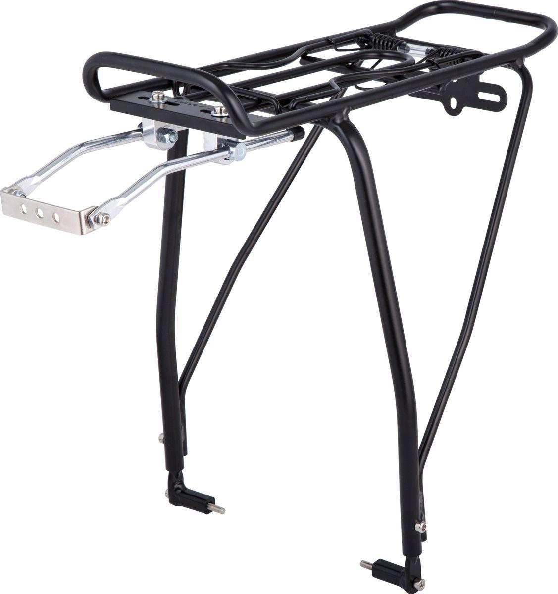 Багажник для велосипеда STG KWA-624-05, задний, под дисковые тормоза, цвет: черный, 26-29Х83151Алюминиевый багажник STG KWA-624-05 черного цвета предназначен для перевозки грузов. Он подходит для велосипедов с дисковым тормозом с диаметром колеса от 26 до 29. Багажник крепится над задним колесом велосипеда. Багажник имеет зажим на пружине, который позволяет зафиксировать груз.