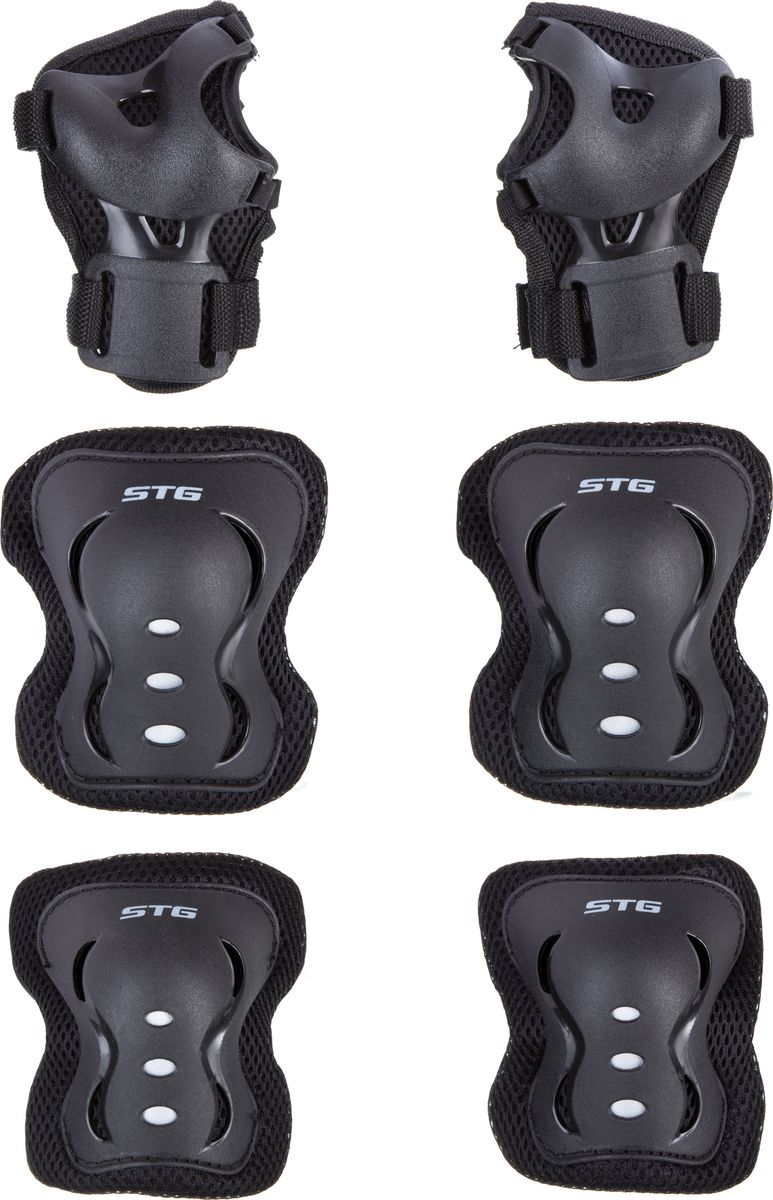 Комплект детской защиты STG YX-0317, цвет: черный. Размер SZ90 blackДетский защитный комплект - это необходимые аксессуары для детей, которые начинают осваивать азы самостоятельного катания. В комплект детской защиты входят наколенники, налокотники и защита кистей. Данный набор подойдет как для катания на велосипеде, так и на самокате, роликовых коньках или скейтборде. Размер S.