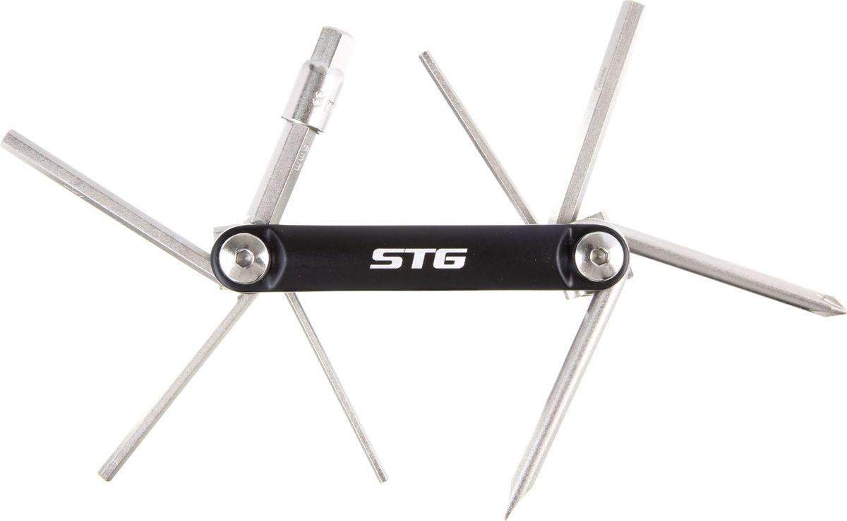 Набор инструментов STG YC-262, 8 в 1Х83409Набор STG YC-262, выполненный из стали и алюминия, состоит из 6 шестигранных ключей (2 мм, 3 мм, 4 мм, 5 мм, 6 мм, 8 мм) и 2 отверток. Такой компактный набор включает в себя все самые необходимые элементы и нужен любому велосипедисту. Он поместится даже в самой маленькой сумке на раму.