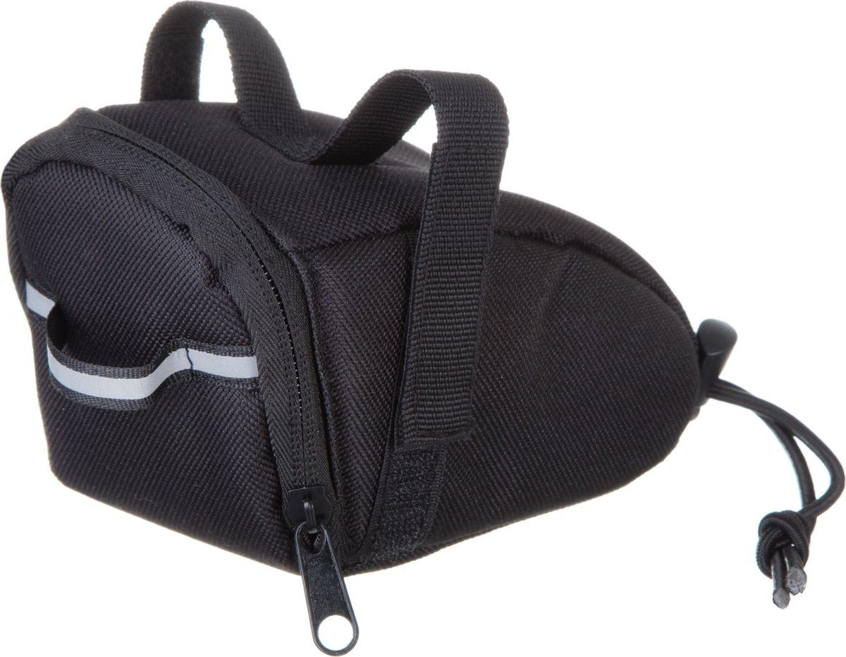 Велосумка STG 13017, под седло, цвет: черный, 15 х 7 х 9 смГризлиКомпактная и вместительная сумка STG 13017 для крепления под седло не доставит вам дискомфорта. Вы сможете перевозить небольшой набор инструментов или личные вещи во время велопрогулок. Сумка оборудована светоотражающим элементом.Размер сумки: 15 х 7 х 9 см.