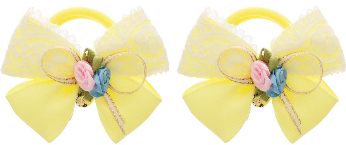 Babys Joy Резинка для волос цвет желтый 2 шт MN 133/2MP59.4DРезинка для волос Babys Joy выполнена из текстиля и украшена двумя текстильными розочками в центре. Резинка позволит убрать непослушные волосы с лица и придаст образу немного романтичности и очарования. Резинка для волос Babys Joy подчеркнет уникальность вашей маленькой модницы и станет прекрасным дополнением к ее неповторимому стилю.