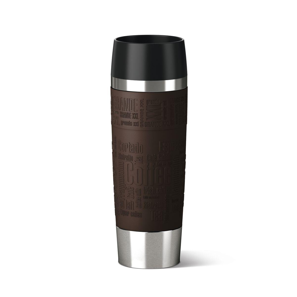 Термокружка Emsa Travel Mug Grande, цвет: коричневый, стальной, 500 млVT-1520(SR)Термокружка Emsa Travel Mug Grande - это идеальный попутчик в дороге - не важно, по пути ли на работу, в школу или во время похода по магазинам. Вакуумная кружка на 100 % герметична. Кружка имеет двустенную вакуумную колбу из нержавеющей стали, благодаря чему температура жидкости сохраняется долгое время. Кружку удобно держать благодаря покрытию Soft Touch из силикона. Изделие открывается нажатием кнопки. Пробка разбирается и превосходно моется. Дно кружки выполнено из силикона, что препятствует скольжению.Диаметр кружки по верхнему краю: 7,5 см.Диаметр дна кружки: 6,5 см.Высота кружки: 24 см.Сохранение холодной температуры: 12 ч.Сохранение горячей температуры: 6 ч.