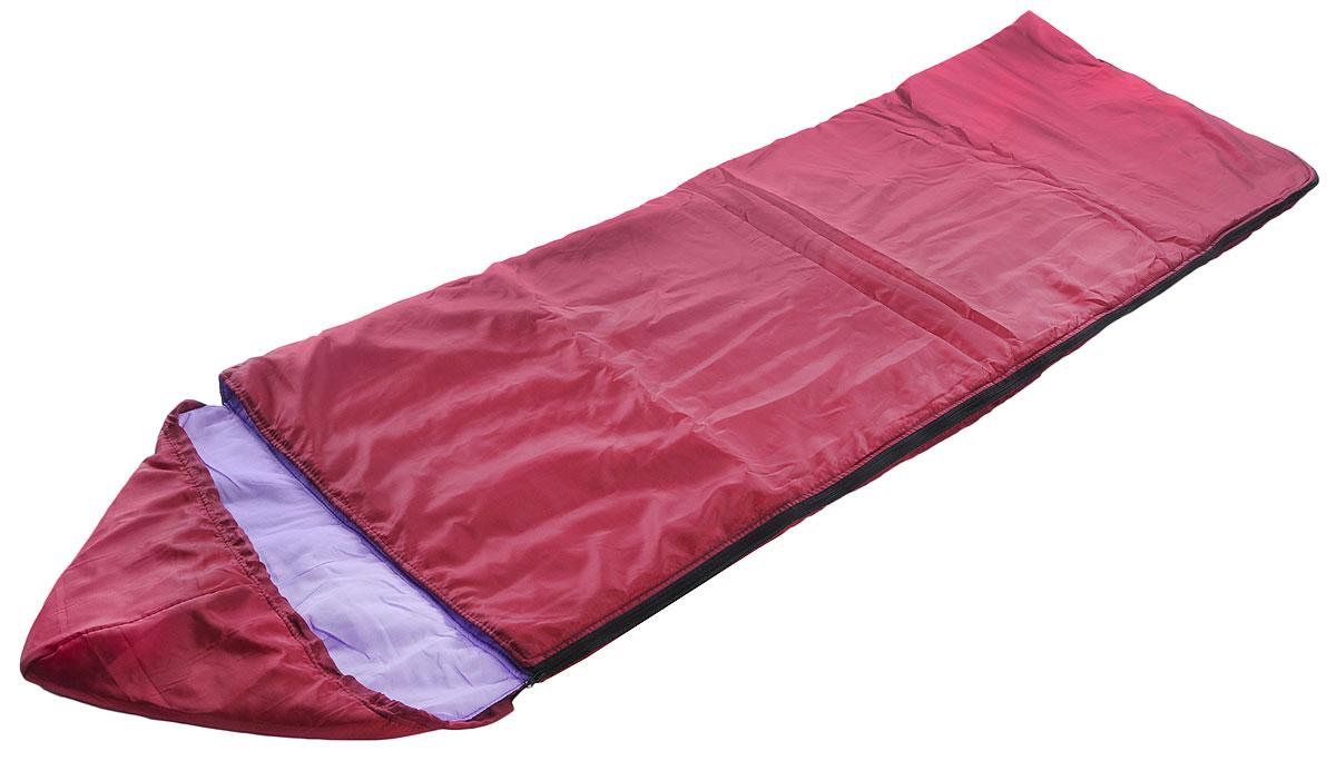 Спальный мешок Onlitop Комфорт, цвет: бордовый, 225 х 70 см010-01199-23Кемпинговый спальник-одеяло Onlitop Комфорт, выполненный из таффета и ситца с наполнителем из синтепона, предназначен для походов и для отдыха на природе в летнее время. В теплое время спальный мешок можно использовать как одеяло (в том числе и дома). Спальник-одеяло Onlitop Комфорт станет незаменимым аксессуаром для любителей туризма, рыболовов и охотников.Размер спальника: 225 х 70 см.