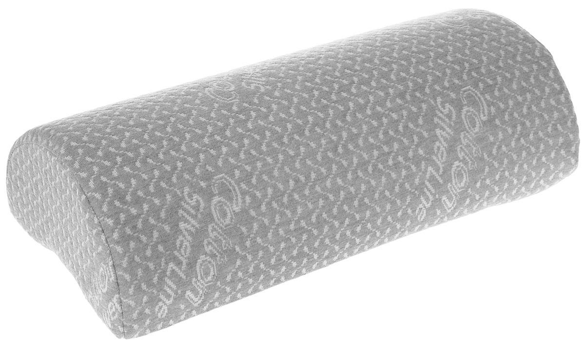 Подушка-валик ортопедическая Торис Бонтон. Сильверлайн, с эффектом памяти, цвет: светло-серый, белый, 40 х 10 х 18 смU210DFПодушка-валик Торис Бонтон. Сильверлайн, выполненная из вязкоэластичной пены с эффектом памяти, сочетает в себе эргономичную форму и уникальные свойства, даря комфорт своему обладателю. Изделие оснащено эластичной лентой для закрепления на спинке или подголовнике автомобиля.- Снимет напряжение с ног и поясницы во время ночного отдыха.- Обеспечит правильное положение позвоночника во время сидения в кресле.- Подарит комфорт во время поездки на машине.