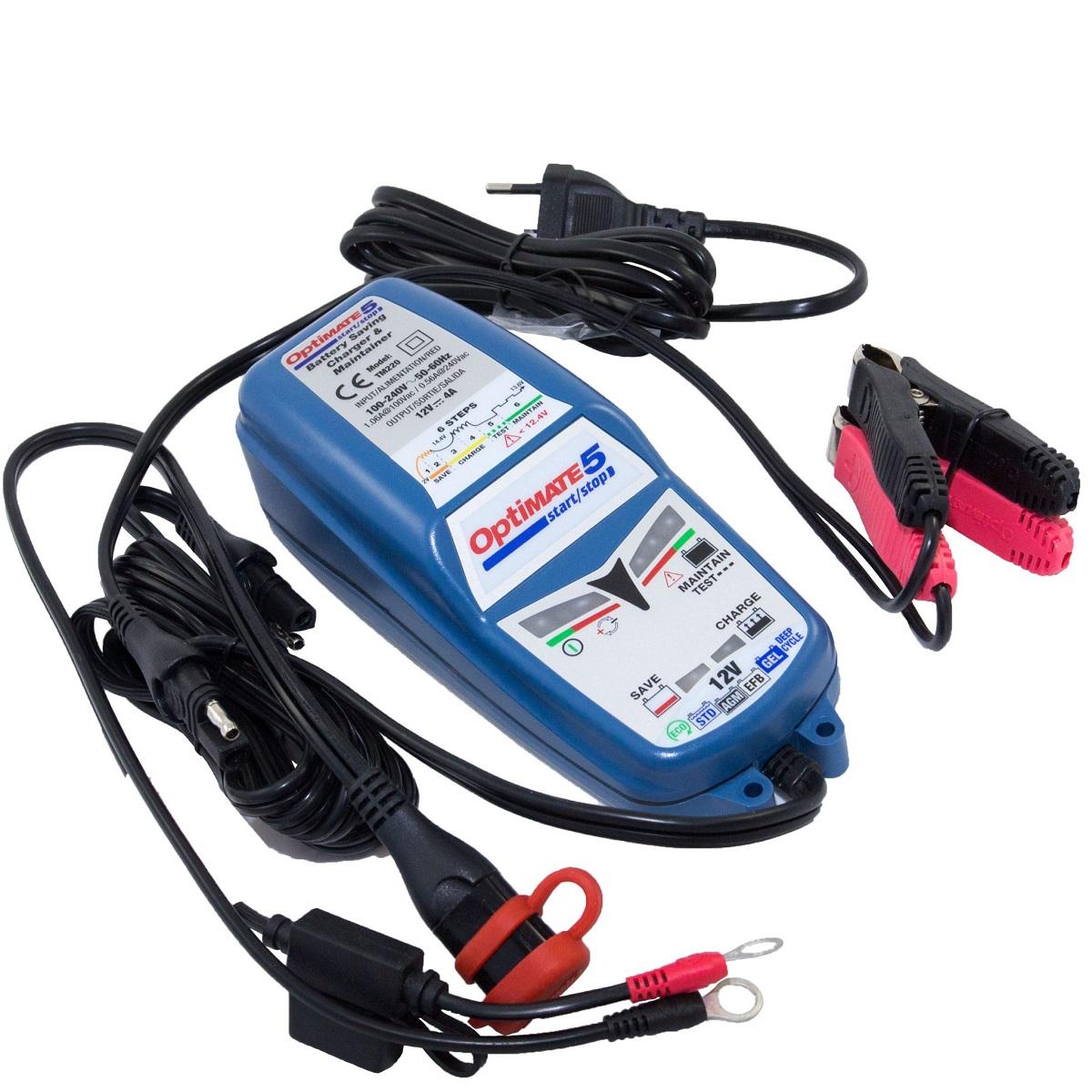 Зарядное устройство OptiMate 5 4А Start-Stop. TM220511600Многоступенчатое зарядное устройство Optimate от бельгийской компании TecMate с режимами тестирования, восстановления глубокоразряженных аккумуляторных батарей, десульфатации и хранения. Управление полностью автоматическое без кнопок. Заряжает все типы 12В свинцово-кислотных аккумуляторных батарей, в т.ч. AGM, GEL. Защита от короткого замыкания, переполюсовки, искрообразования, перегрева. Оптимизирует срок службы и здоровье аккумуляторной батареи. Гарантия 3 года (замена на новое изделие).Влагозащищенный корпус.Рекомендовано 10-ю ведущими производителями мототехники. Optimate 5 рекомендуется для АКБ от 15 Ач до 192 Ач. Ток заряда 4,0 А. Старт зарядки АКБ от 2 В. Температурный режим от -20°С до +40°С. В комплект устройства входят аксессуары O11 кольцевой разъем постоянного подключения и O4 зажимы типа крокодил.