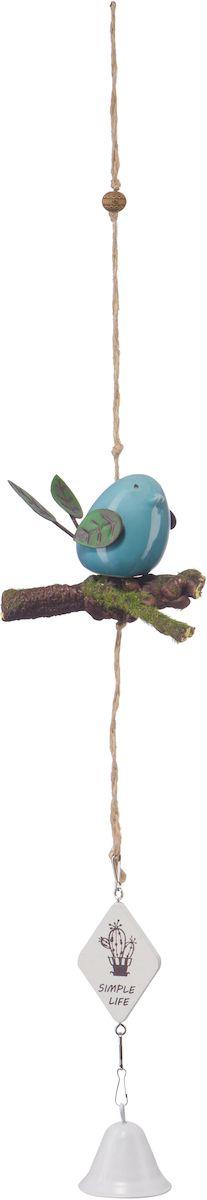Украшение декоративное Engard Птичка с колокольчиком, цвет: голубой, 43 х 10 см25051 7_желтыйДекоративная птичка с колокольчиком - оригинальное и функциональное изделие из керамики для оформления помещения.Не требует постоянного ухода. Цвет: белый/голубой/зеленый. Высота: 42 см.