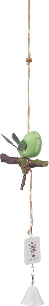 Украшение декоративное Engard Птичка с колокольчиком, цвет: зеленый, 44 х 10 смTHN132NДекоративная птичка с колокольчиком - оригинальное и функциональное изделие из керамики для оформления помещения. Не требует постоянного ухода. Цвет: белый/голубой/зеленый. Высота: 42 см.