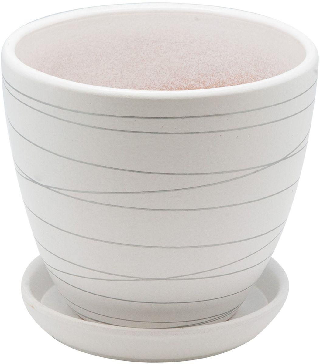 Горшок цветочный Engard, с поддоном, цвет: белый, серебристый, 2,4 л74-0080Керамический горшок - это идеальное решение для выращивания комнатных растений и создания изысканности в интерьере. Керамический горшок сделан из высококачественной глины в классической форме и оригинальном дизайне.