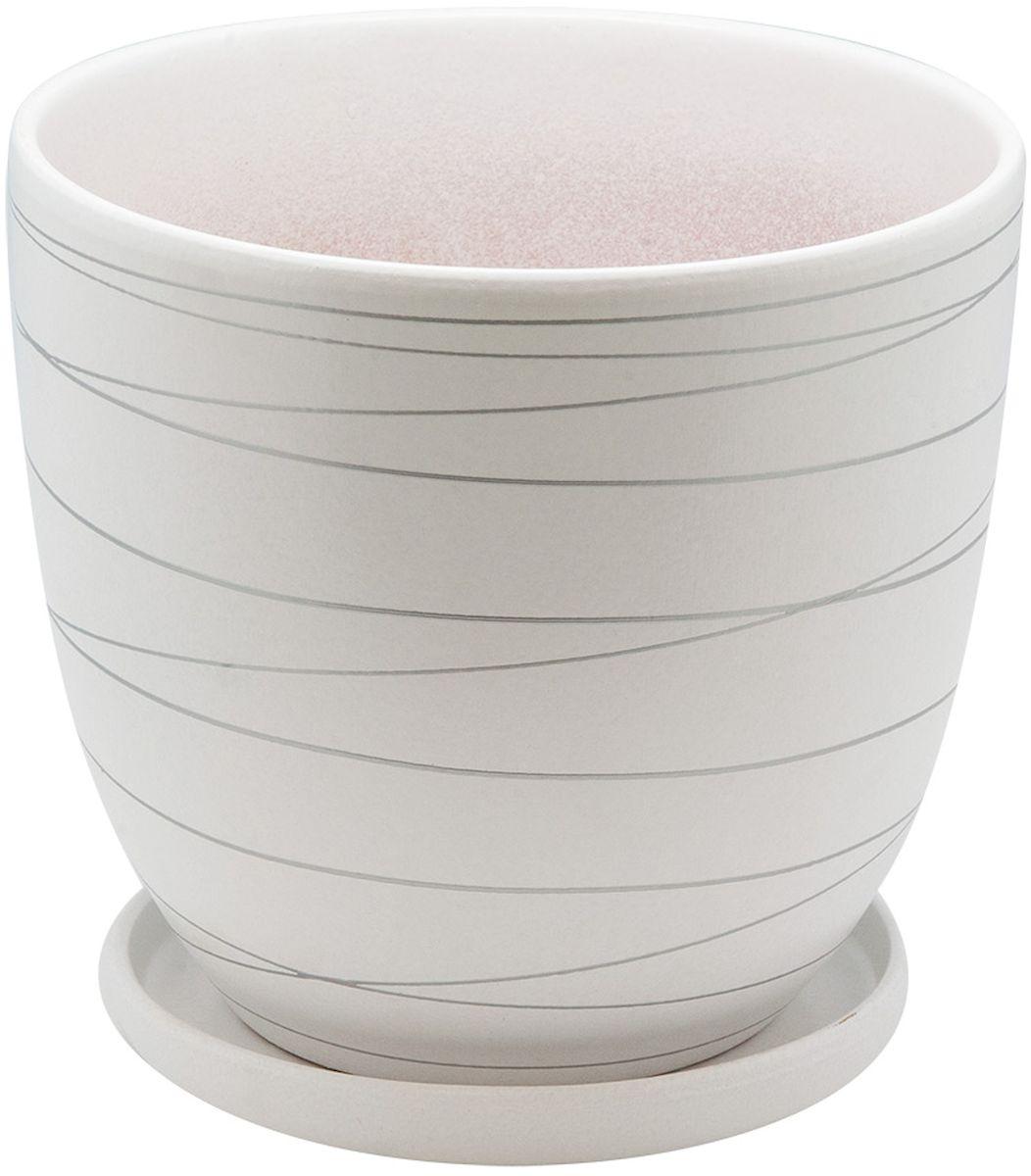 Горшок цветочный Engard, с поддоном, цвет: белый, серебристый, 4,7 л531-401Керамический горшок - это идеальное решение для выращивания комнатных растений и создания изысканности в интерьере. Керамический горшок сделан из высококачественной глины в классической форме и оригинальном дизайне.