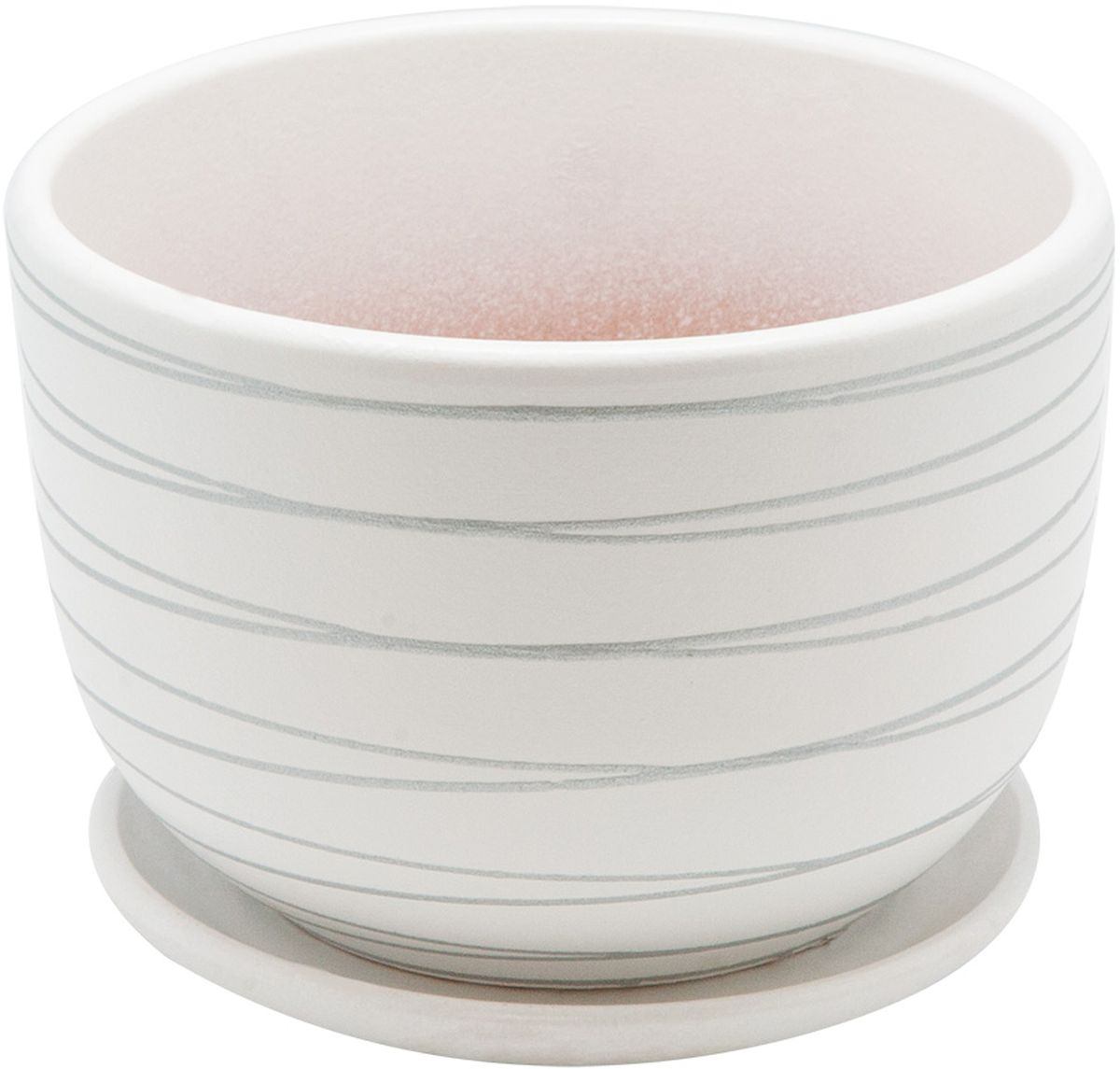 Горшок цветочный Engard, с поддоном, цвет: белый, серебристый, 1,05 л531-105Керамический горшок - это идеальное решение для выращивания комнатных растений и создания изысканности в интерьере. Керамический горшок сделан из высококачественной глины в классической форме и оригинальном дизайне.