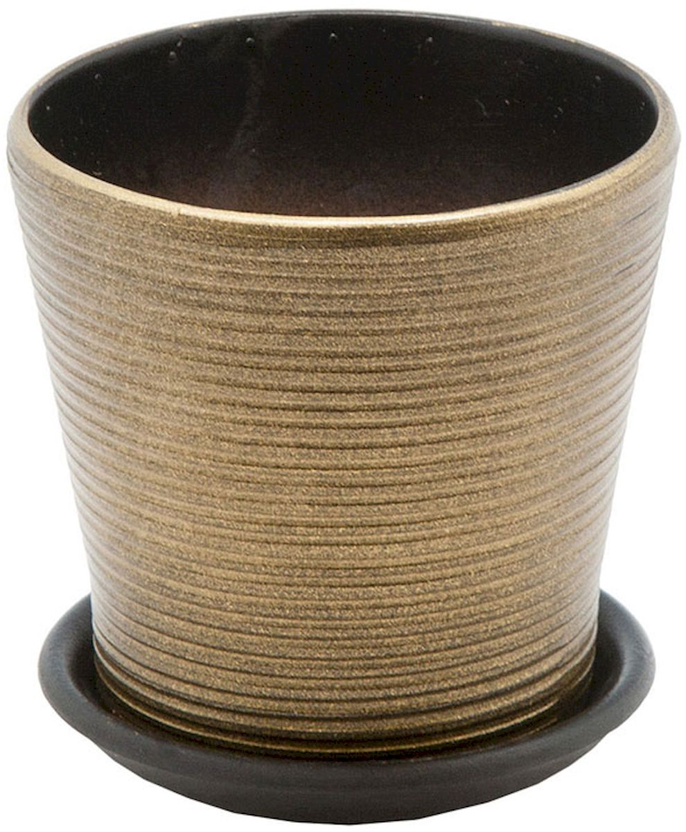 Горшок цветочный Engard, с поддоном, цвет: бронзовый глянцевый, 0,3 л531-402Керамический горшок - это идеальное решение для выращивания комнатных растений и создания изысканности в интерьере. Керамический горшок сделан из высококачественной глины в классической форме и оригинальном дизайне.