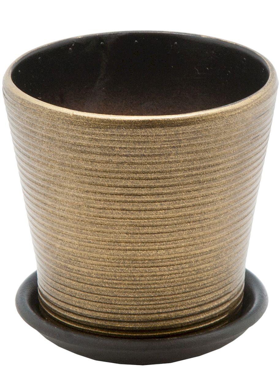Горшок цветочный Engard, с поддоном, цвет: бронзовый глянцевый, 0,5 л531-105Керамический горшок - это идеальное решение для выращивания комнатных растений и создания изысканности в интерьере. Керамический горшок сделан из высококачественной глины в классической форме и оригинальном дизайне.