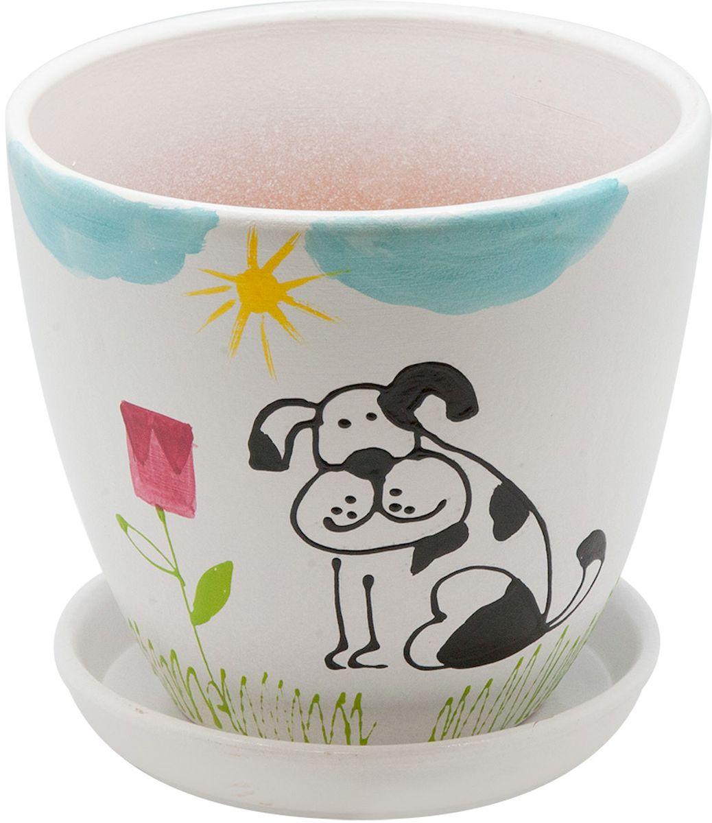 Горшок цветочный Engard Собака, с поддоном, 2,4 л531-401Керамический горшок - это идеальное решение для выращивания комнатных растений и создания изысканности в интерьере. Керамический горшок сделан из высококачественной глины в классической форме и оригинальном дизайне.