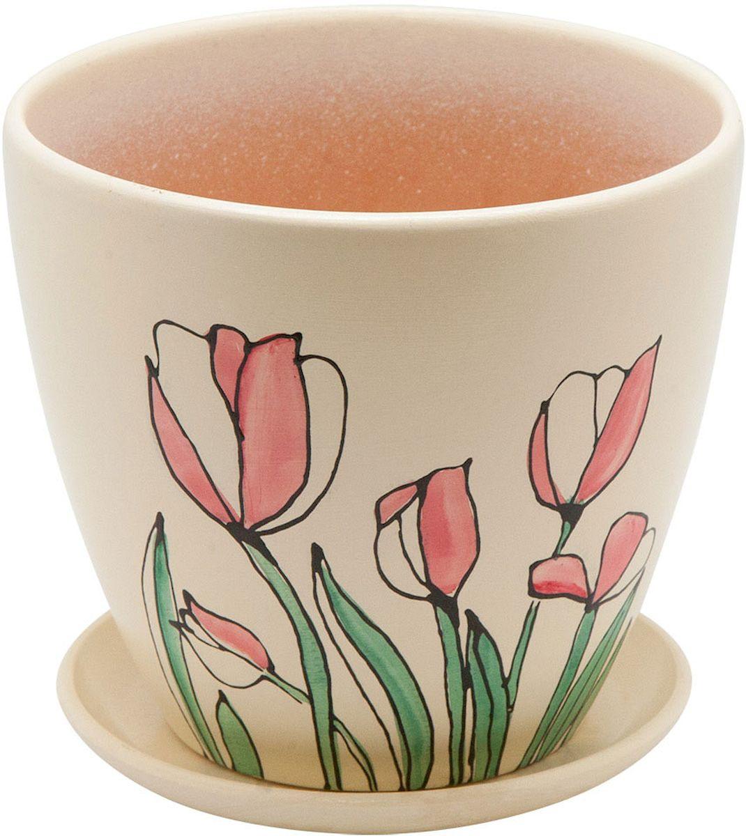 Горшок цветочный Engard, с поддоном, 4,7 л. BH-12-3531-402Керамический горшок - это идеальное решение для выращивания комнатных растений и создания изысканности в интерьере. Керамический горшок сделан из высококачественной глины в классической форме и оригинальном дизайне.