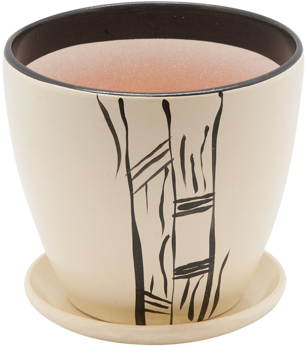 Горшок цветочный Engard, с поддоном, цвет: бежевый, 1,4 лC0042416Керамический горшок - это идеальное решение для выращивания комнатных растений и создания изысканности в интерьере. Керамический горшок сделан из высококачественной глины в классической форме и оригинальном дизайне.