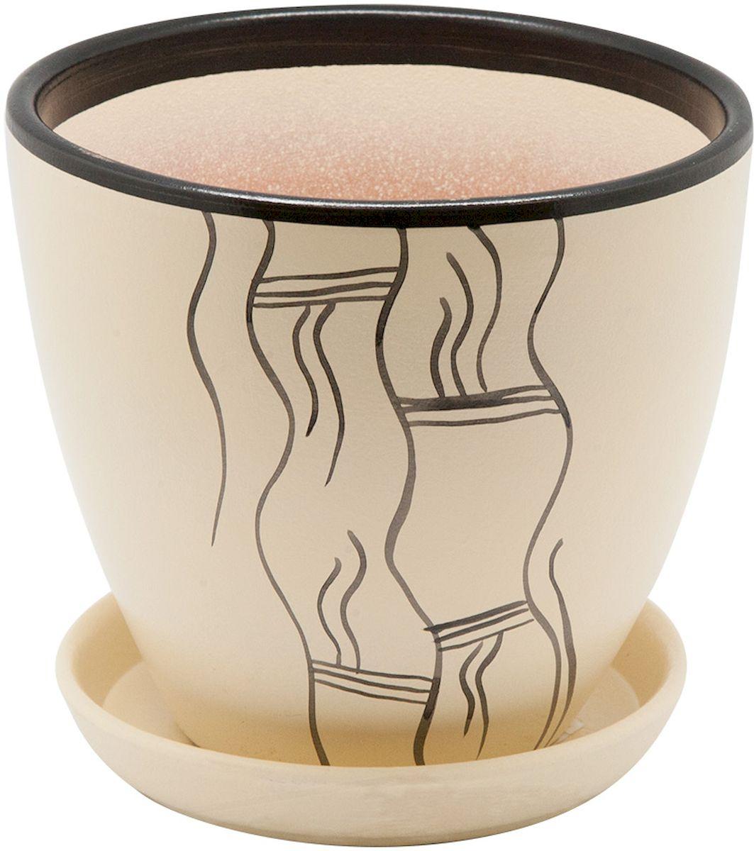 Горшок цветочный Engard, с поддоном, цвет: бежевый, 2,4 л. BH-17-2BH-17-2Керамический горшок Engard - это идеальное решение для выращивания комнатных растений и создания изысканности в интерьере. Керамический горшок сделан из высококачественной глины в классической форме и оригинальном дизайне.Объем: 2,4 л.