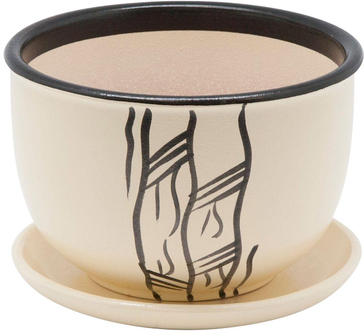 Горшок цветочный Engard, с поддоном, цвет: бежевый, 1,05 л531-401Керамический горшок - это идеальное решение для выращивания комнатных растений и создания изысканности в интерьере. Керамический горшок сделан из высококачественной глины в классической форме и оригинальном дизайне.