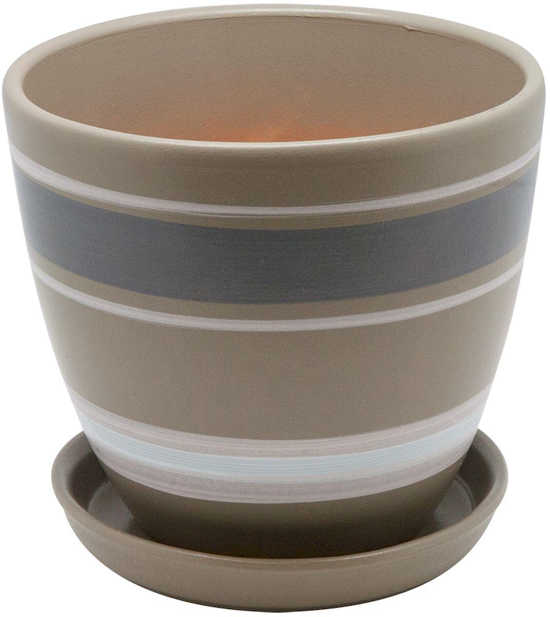 Горшок цветочный Engard, с поддоном, цвет: серый, белый, 2,4 лC0038550Керамический горшок - это идеальное решение для выращивания комнатных растений и создания изысканности в интерьере. Керамический горшок сделан из высококачественной глины в классической форме и оригинальном дизайне.
