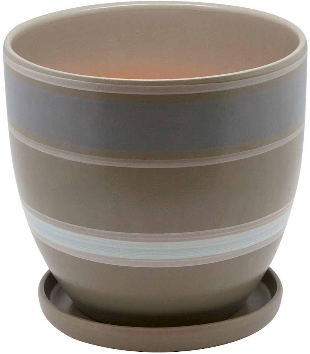 Горшок цветочный Engard, с поддоном, цвет: серый, белый, 4,7 л391602Керамический горшок - это идеальное решение для выращивания комнатных растений и создания изысканности в интерьере. Керамический горшок сделан из высококачественной глины в классической форме и оригинальном дизайне.