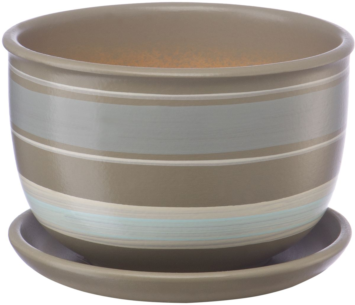 Горшок цветочный Engard, с поддоном, цвет: серый, белый, 0,5 лKOC_SOL249_G4Керамический горшок - это идеальное решение для выращивания комнатных растений и создания изысканности в интерьере. Керамический горшок сделан из высококачественной глины в классической форме и оригинальном дизайне.