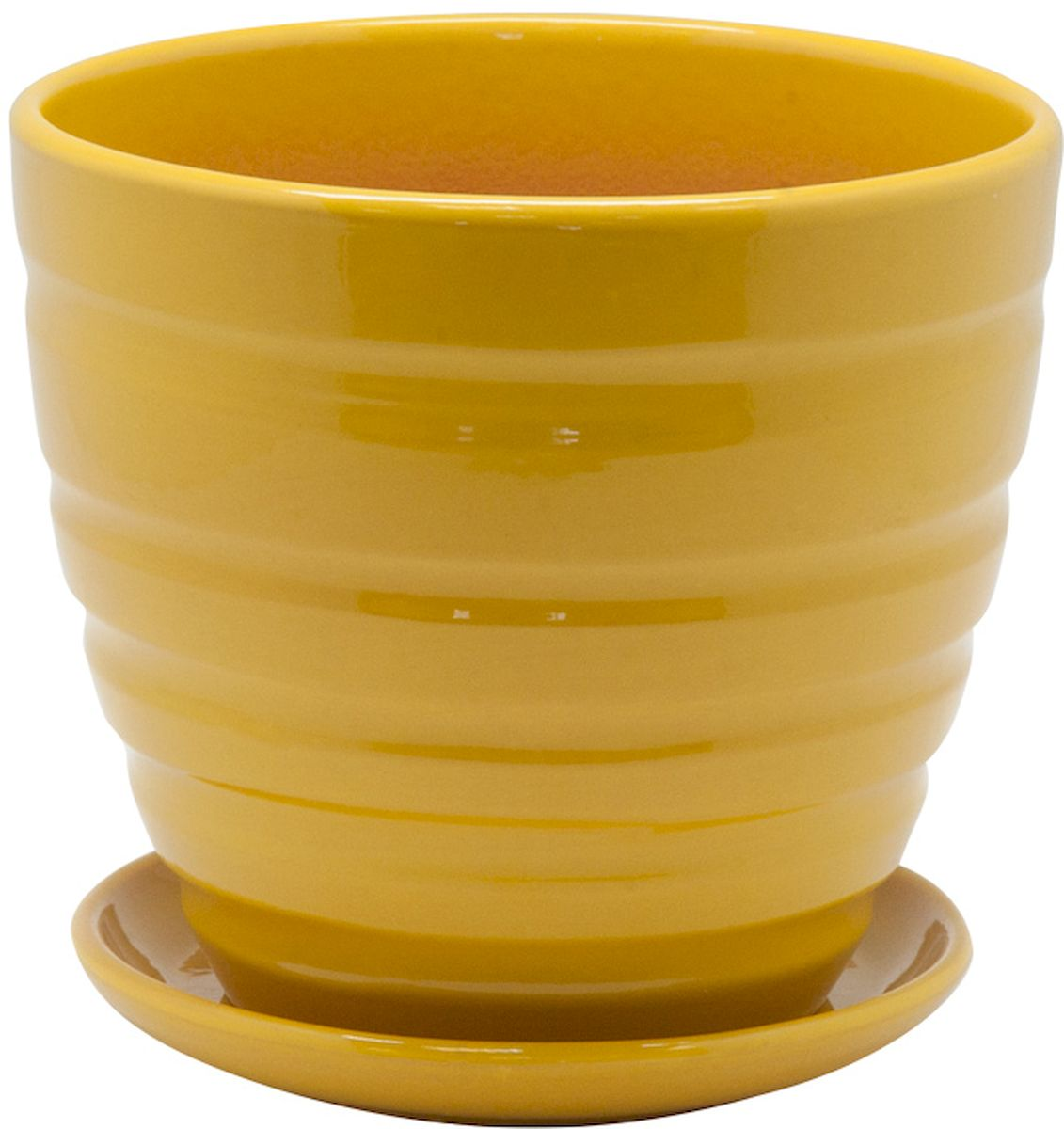 Горшок цветочный Engard, с поддоном, цвет: желтый, 1,4 лC0042416Керамический горшок - это идеальное решение для выращивания комнатных растений и создания изысканности в интерьере. Керамический горшок сделан из высококачественной глины в классической форме и оригинальном дизайне.