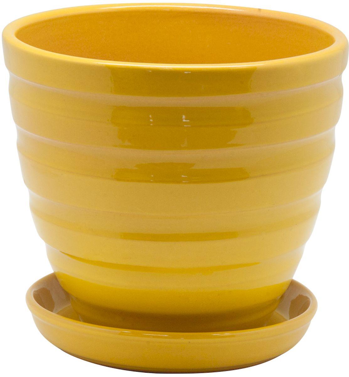Горшок цветочный Engard, с поддоном, цвет: желтый, 2,4 лK100Керамический горшок - это идеальное решение для выращивания комнатных растений и создания изысканности в интерьере. Керамический горшок сделан из высококачественной глины в классической форме и оригинальном дизайне.
