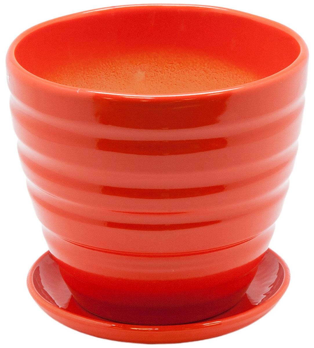 Горшок цветочный Engard, с поддоном, цвет: рыжий, 1,4 л97775318Керамический горшок - это идеальное решение для выращивания комнатных растений и создания изысканности в интерьере. Керамический горшок сделан из высококачественной глины в классической форме и оригинальном дизайне.