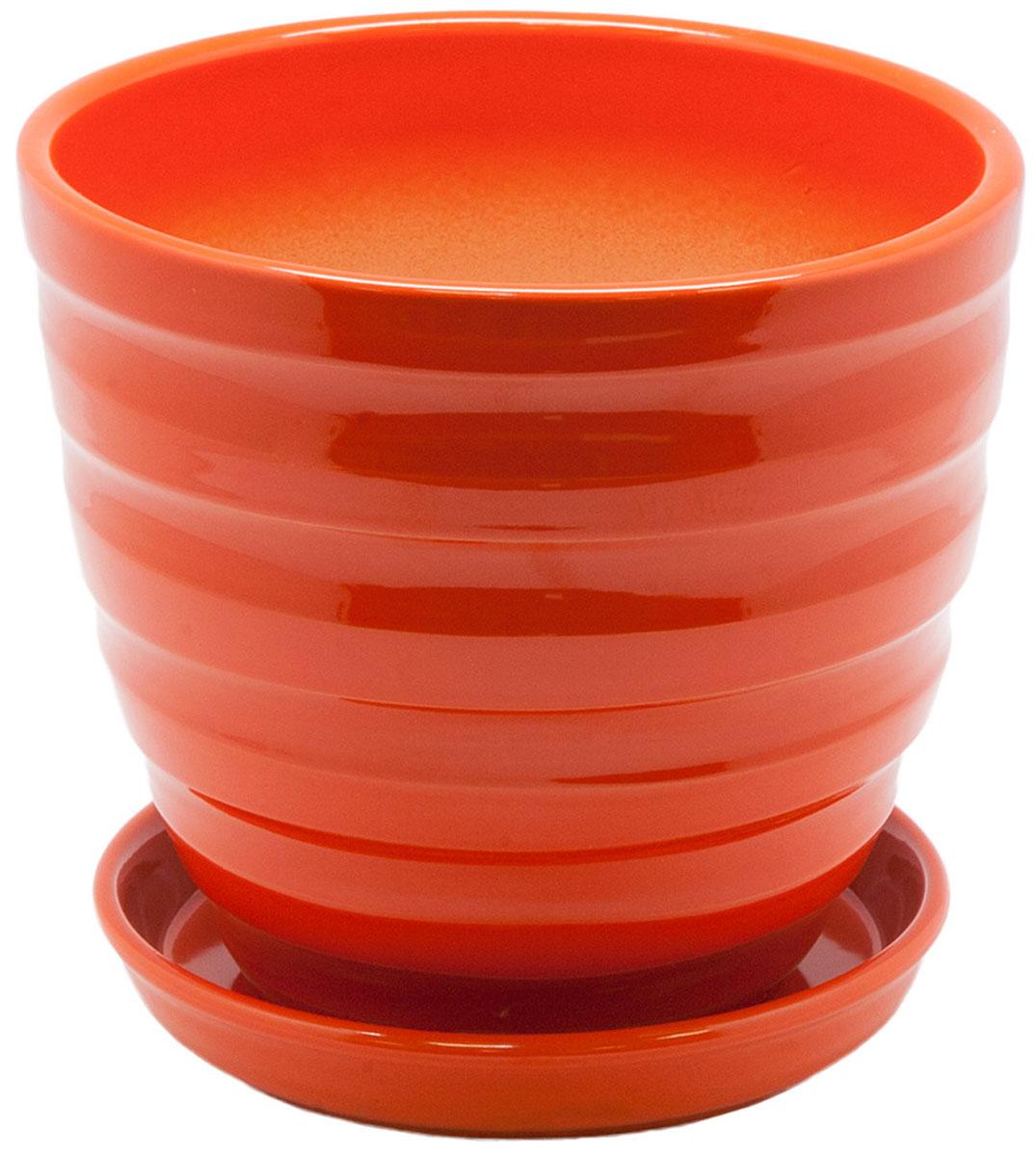 Горшок цветочный Engard, с поддоном, цвет: рыжий, 2,4 лC0038550Керамический горшок - это идеальное решение для выращивания комнатных растений и создания изысканности в интерьере. Керамический горшок сделан из высококачественной глины в классической форме и оригинальном дизайне.