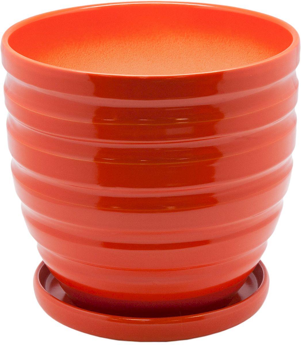 Горшок цветочный Engard, с поддоном, цвет: оранжевый, 4,7 лBH-22-3Керамический горшок Engard - это идеальное решение для выращивания комнатных растений и создания изысканности в интерьере. Керамический горшок сделан из высококачественной глины в классической форме и оригинальном дизайне.Объем: 4,7 л.