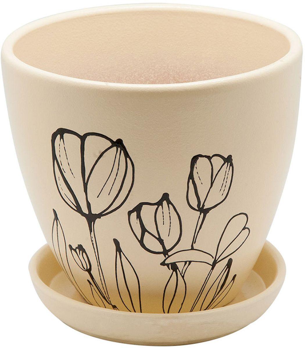 Горшок цветочный Engard, с поддоном, 1,4 л. BH-23-1531-105Керамический горшок - это идеальное решение для выращивания комнатных растений и создания изысканности в интерьере. Керамический горшок сделан из высококачественной глины в классической форме и оригинальном дизайне.