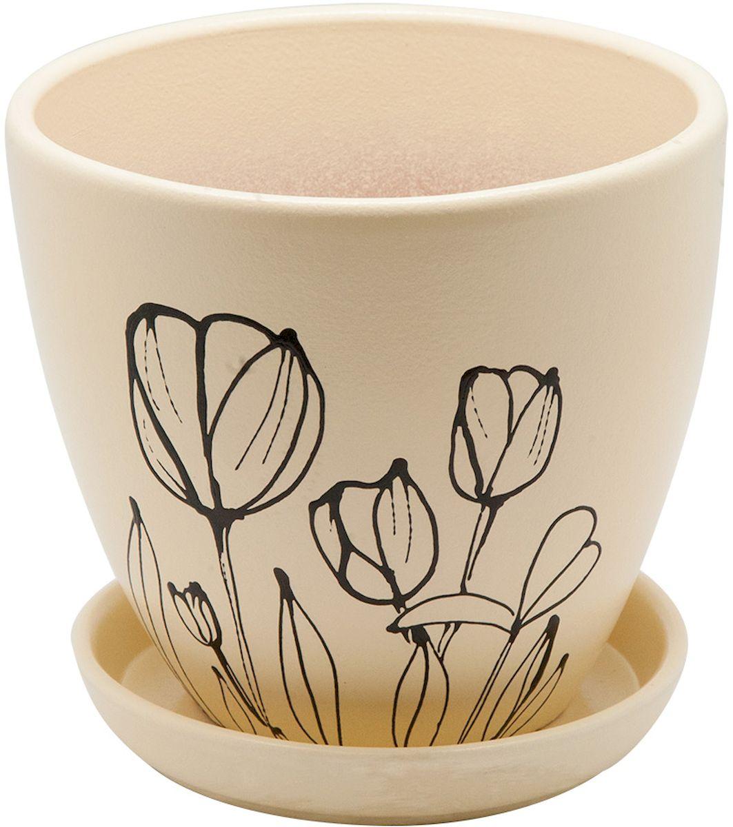 Горшок цветочный Engard, с поддоном, 2,4 л. BH-23-2K100Керамический горшок - это идеальное решение для выращивания комнатных растений и создания изысканности в интерьере. Керамический горшок сделан из высококачественной глины в классической форме и оригинальном дизайне.