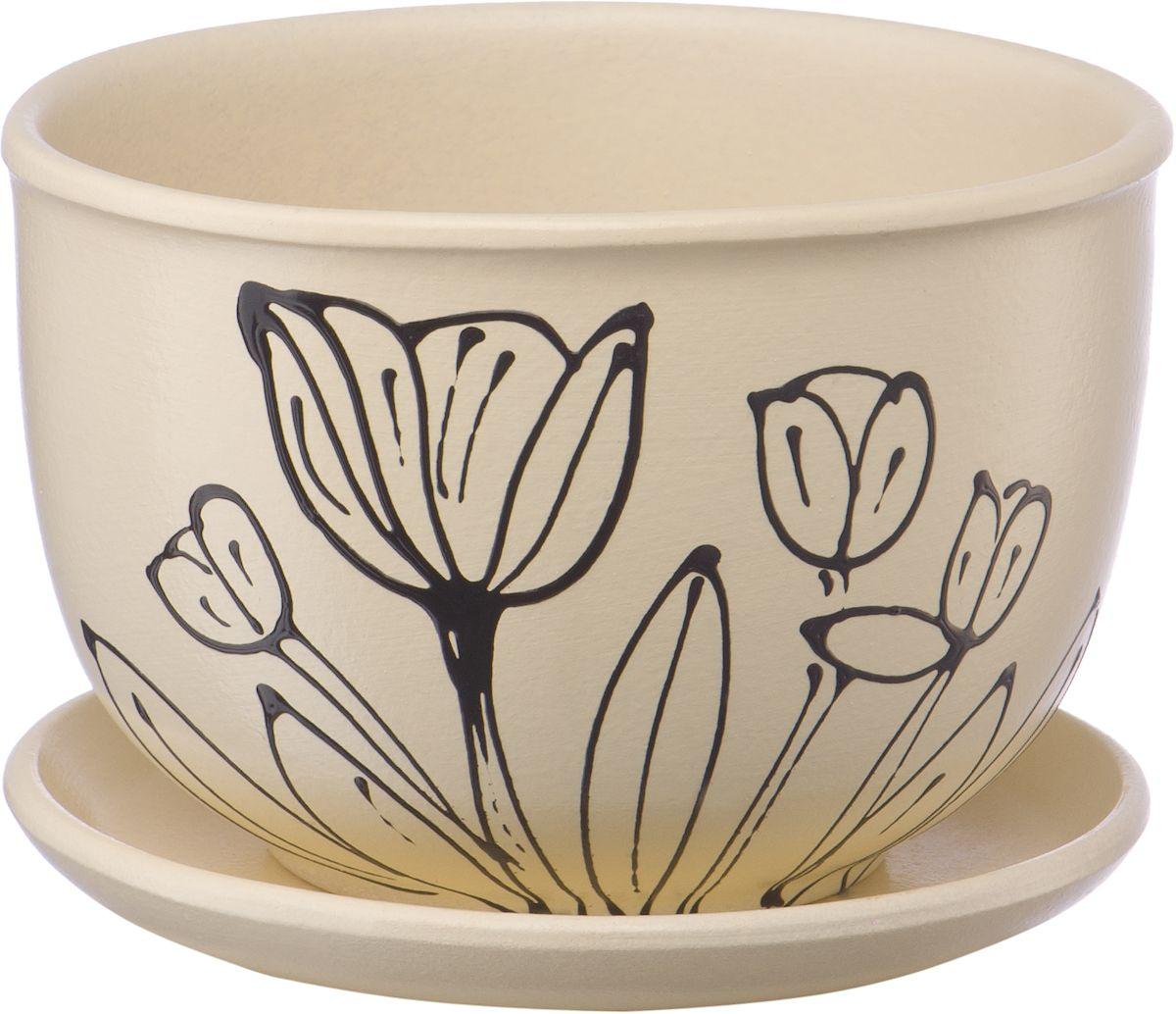 Горшок цветочный Engard, с поддоном, 0,5 л. BH-23-8531-105Керамический горшок - это идеальное решение для выращивания комнатных растений и создания изысканности в интерьере. Керамический горшок сделан из высококачественной глины в классической форме и оригинальном дизайне.