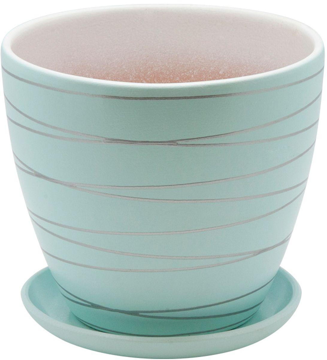 Горшок цветочный Engard, с поддоном, цвет: голубой, 4,7 л531-105Керамический горшок - это идеальное решение для выращивания комнатных растений и создания изысканности в интерьере. Керамический горшок сделан из высококачественной глины в классической форме и оригинальном дизайне.