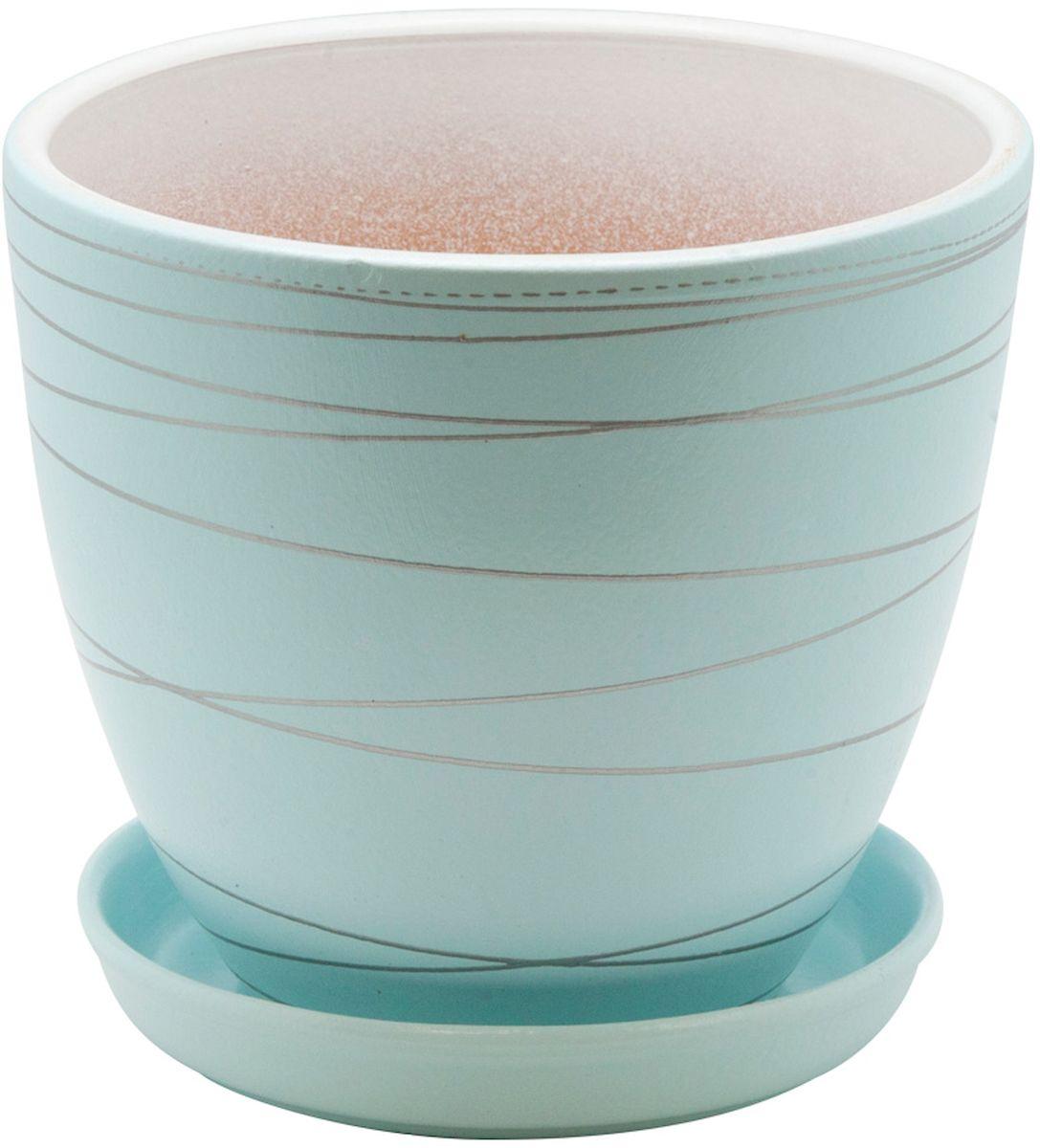 Горшок цветочный Engard, с поддоном, цвет: голубой, 1,05 л531-105Керамический горшок - это идеальное решение для выращивания комнатных растений и создания изысканности в интерьере. Керамический горшок сделан из высококачественной глины в классической форме и оригинальном дизайне.