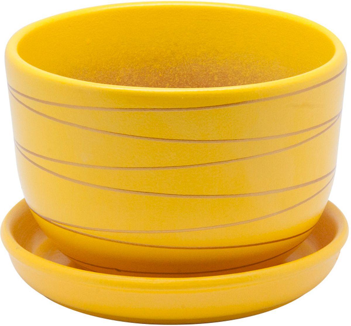 Горшок цветочный Engard, с поддоном, цвет: желтый, 2,4 л. BH-25-2531-402Керамический горшок - это идеальное решение для выращивания комнатных растений и создания изысканности в интерьере. Керамический горшок сделан из высококачественной глины в классической форме и оригинальном дизайне.