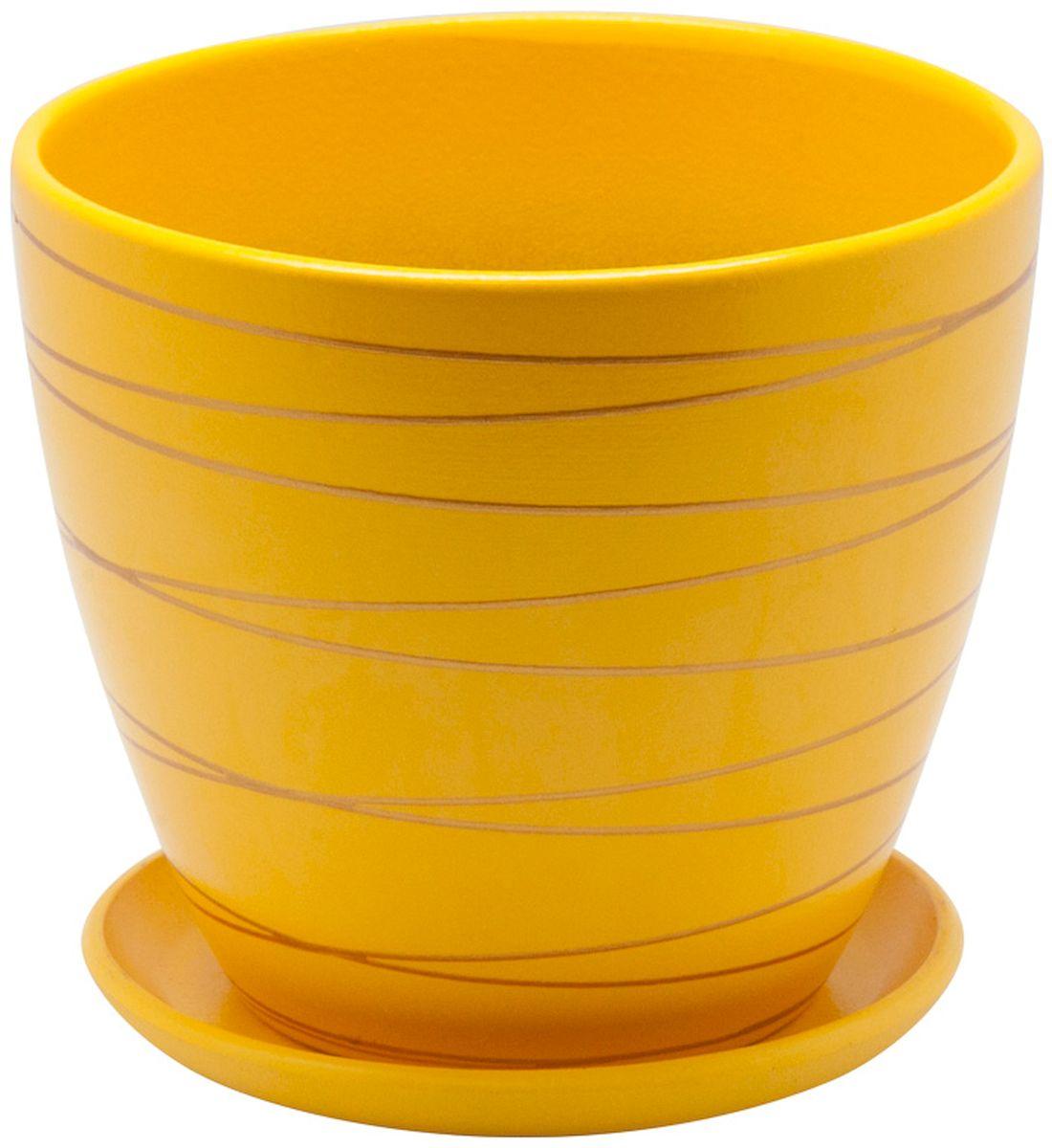 Горшок цветочный Engard, с поддоном, цвет: желтый, 4,7 л. BH-25-3BH-25-3Керамический горшок Engard - это идеальное решение для выращивания комнатных растений и создания изысканности в интерьере. Керамический горшок сделан из высококачественной глины в классической форме и оригинальном дизайне.Объем: 4,7 л.