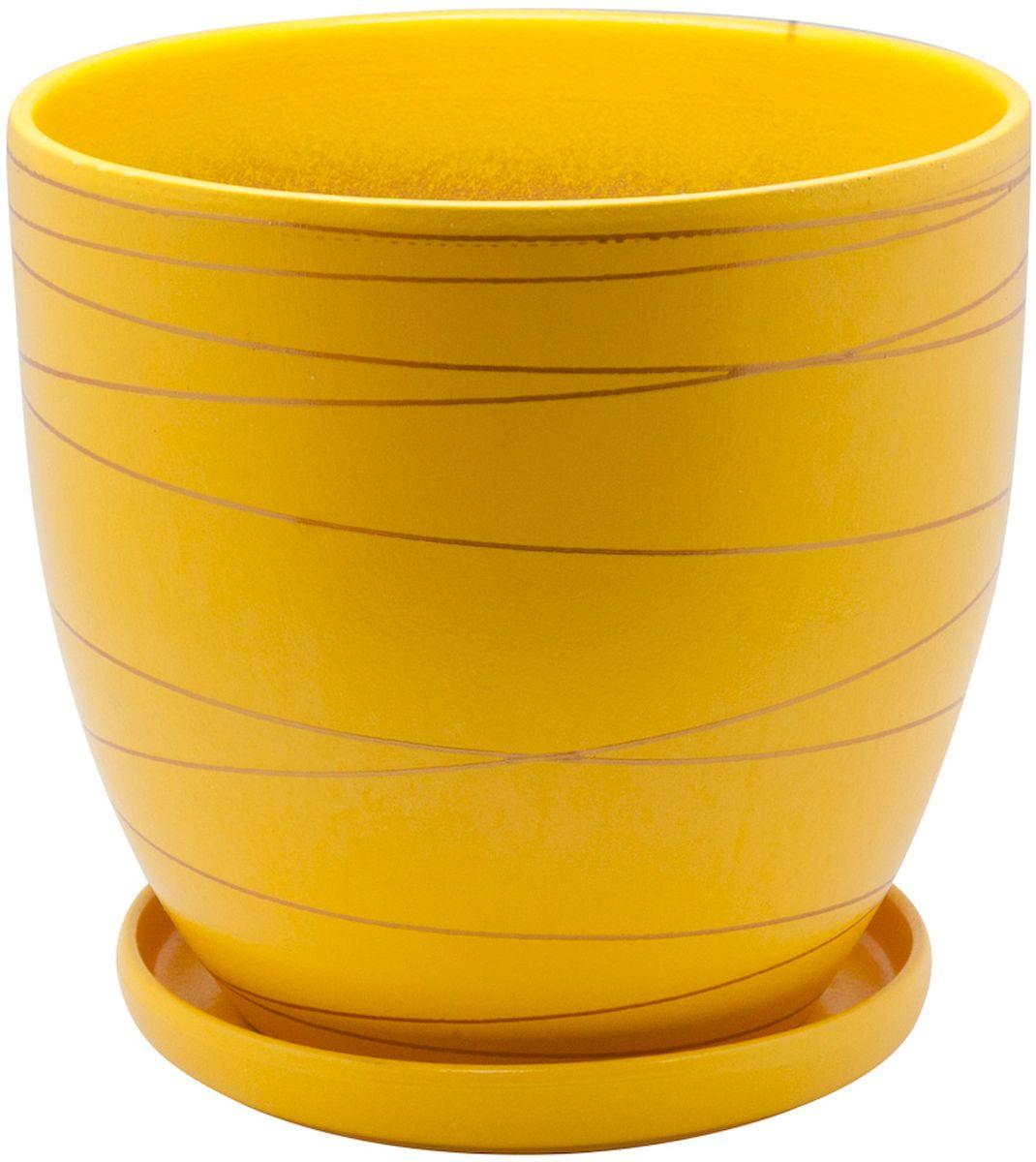 Горшок цветочный Engard, с поддоном, цвет: желтый, 0,5 л531-105Керамический горшок - это идеальное решение для выращивания комнатных растений и создания изысканности в интерьере. Керамический горшок сделан из высококачественной глины в классической форме и оригинальном дизайне.