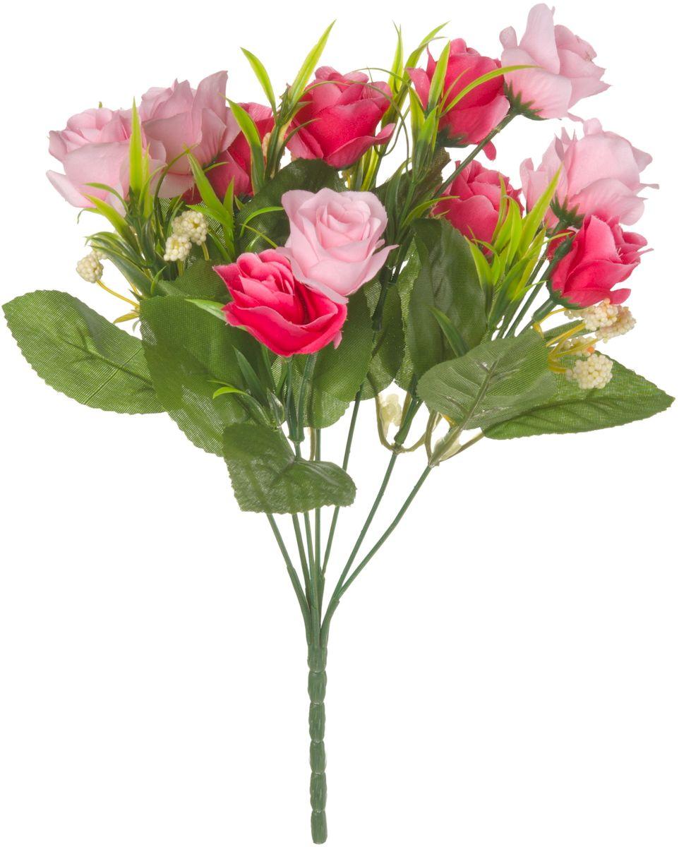Цветы искусственные Engard Роза в букете, цвет: розовый, 27 см. E4-238R531-402Искусственные цветы Engard - это популярное дизайнерское решение для создания природного колорита и индивидуальности в интерьере. Декоративный букет роз из семи цветков розового цвета выглядит довольно реалистично, нежно и является достойной альтернативой натуральным цветам. Розы имеют идеально собранную форму. Не требует постоянного ухода. Размер: 27 см.